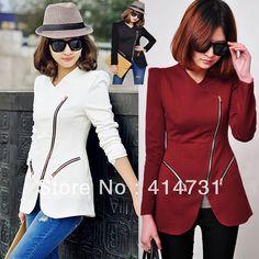 2013 Autumn Winter Fashion Women Turn-Down Collar Outerwear Oblique Zipper Slim Suit Blazer
