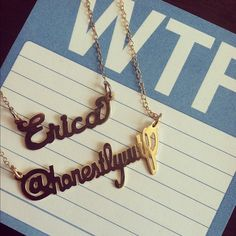 """love how the ladies of @HonestlyWTF use their twitter handle nameplate as a """"wearable business card!"""""""