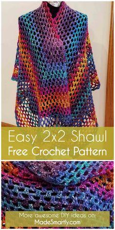 Easy 2x2 Shawl - Free Crochet Pattern  #crochetpattern  #crochet   #freecrochetpatterns #crochetshawl