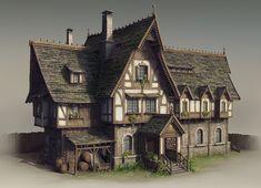 Fantasy Art: Inn by Yusuf Artun Casa Medieval Minecraft, Medieval Houses, Medieval Town, Minecraft Houses, Fantasy Town, Fantasy House, Medieval Fantasy, High Fantasy, Building Concept