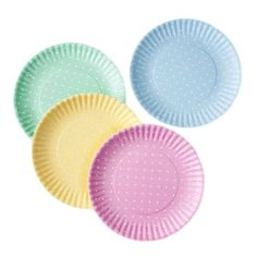 Pastel Polka Dot Picnic / Dinner Plate, 9 Inch Melamine, Set of 4, Pink, Blue, Yellow, Green