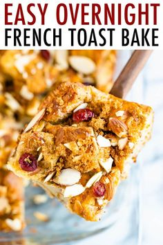 Make French toast for a crowd with this easy overnight french toast bake! To lighten things up a bit the recipe uses a mixture of eggs and egg whites, almond milk and maple syrup for sweetness. Challah French Toast, Make French Toast, Overnight French Toast, Healthy Breakfast Options, Breakfast Items, Brunch Recipes, Breakfast Recipes, Breakfast Casserole, Homemade English Muffins