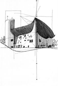 Ryan Patterson | Corbu: Ronchamp (Le Corbusier - France), Pen and ink on paper, 2007