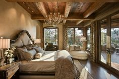 Dream bedroom in log home...