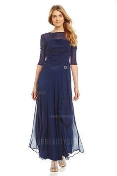 A-Line/Princess Jewel Ankle-length Chiffon Mother of the Bride Dress