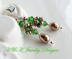 Green and Bronze Cluster Earrings, Bronze Pearl Earrings, Green Crystal Earrings, Silver Earrings, Pearl and Crystal Earrings, Long Earrings by hhjewelrydesigns on Etsy