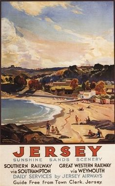 Vintage Jersey Southern UK Travel Tourism Poster Re-Print Wall Decor Jersey Channel Islands, Illustrations Vintage, Railway Posters, Train Posters, British Travel, Southern Railways, Beach Scenes, Vintage Travel Posters, Ireland Travel