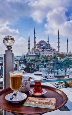 Perfect view and coffee ☕️ (Place:Sultanahmet Camii (Sultan Ahmed Mosque - Blue Mosque) Istanbul,Turkey ) // Photography by Viktoriya Sener ( Places Around The World, Oh The Places You'll Go, Places To Travel, Beautiful Mosques, Beautiful Places, Blue Mosque Istanbul, Visit Turkey, Istanbul Travel, Photos Voyages