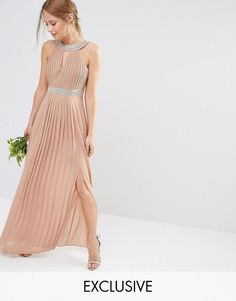 Buy TFNC WEDDING Embellished Pleated Maxi Dress at ASOS. With free delivery and return options (Ts&Cs apply), online shopping has never been so easy. Get the latest trends with ASOS now. Blush Evening Dress, Wedding Evening Gown, Blush Gown, Evening Gowns, Corsage, Bridesmaid Dresses Uk, Bridesmaids, Asos, Lace Wedding Dresses