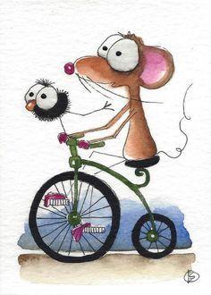 Riding on the handlebars. Watercolor Art Paintings, Happy Paintings, Watercolor Animals, Watercolor Cards, Watercolour, Cartoon Drawings, Animal Drawings, Cute Drawings, Whimsical Art