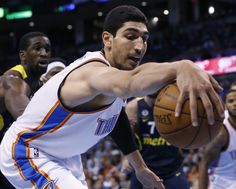 Oklahoma City Thunder center Enes Kanter reaches for a ball in front of Fenerbahce Ulker center Ekpe Udoh, left, in the third quarter of an NBA basketball preseason game in Oklahoma City, Friday, Oct. Western Conference, Best Fan, Oklahoma City Thunder, Houston Rockets, Kevin Durant, Nba Basketball, Seasons, Third