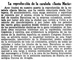 *1952.-La Vanguardiade l'època celebrava l'arribada al port de Barcelona de la reproducció de la Santa Maria amb aquest text que traspuava les essències més pures de l'Espanya Imperial del franquisme. BARCELOFÍLIA