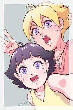 Himawari y Boruto Naruto Shippuden, Naruto Himawari, Naruto Und Hinata, Hinata Hyuga, Inojin, Sasunaru, Uzumaki Family, Naruto Family, Boruto Naruto Next Generations