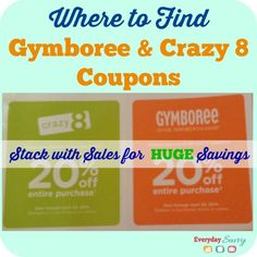 Where to find Gymboree and Crazy 8 coupons. This article is updated each month with new coupons. Stack these coupons on top of Gymboree and Crazy 8 sales for HUGE savings!
