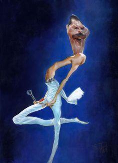 "CARICATURAS DE FAMOSOS: ""Freddie Mercury"" por Jota Leal"