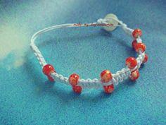 #handmade #white #ribbon #beads #orange #bracelet #button #macrame  #make-my-day_accessories #chalkida #greece