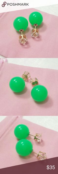New Spring Summer Chic 2 Way Earrings New Arrivals! (Crystal Clear Jello Green Disco Ball) 1 Pair x Super Chic & Cute Brand New 2 Way Earrings Green Jello Ball wt Rhinestone Studs Design. Alloy Rose Gold Studs. Super adorable! No model sorry. All item is clean & new in wrapping.  I have other design and color please come visit. :)  Happy Shopping.  Buy 3 Pairs Free 1 Pair (House Pick) for first 20 Buyers Only Limited time offer. Boutique  Jewelry Earrings