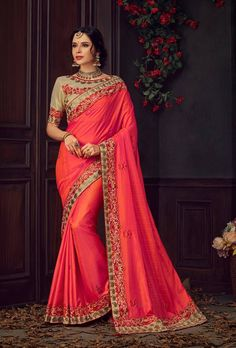 Shop for handmade indian sarees online! Order this silk embroidered and lace work designer traditional saree for ceremonial, party and reception. Blue Silk Saree, Red Saree, Art Silk Sarees, Bollywood Saree, Sari, Lehenga Choli, Indian Sarees Online, Lace Silk, Latest Sarees