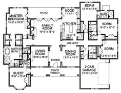 Traditional Style House Plan - 5 Beds 4.5 Baths 3536 Sq/Ft Plan #490-11 Floor Plan - Main Floor Plan - Houseplans.com