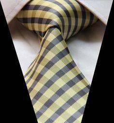 T108 Yellow Gray Check Tie Classic 100 Silk Woven Man's Tie Necktie | eBay
