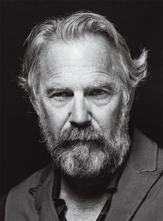 Kevin Costner by Jeff Vespa Kevin Costner, Great Beards, Looks Black, Celebrity Portraits, Black And White Portraits, Hair And Beard Styles, Interesting Faces, Male Face, Famous Faces