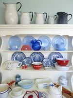 Blue, White and Red Kitchen Display - Castanet Classifieds Log Home Kitchens, Kitchen Display, Red Kitchen, Log Homes, Red White Blue, Heaven, Decor Ideas, Dreams, Dishes