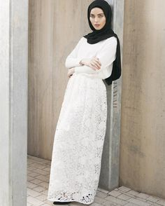 The finest needlework and textured garments.  Shop online and in-store:  White Crochet Skirt White Crepe Top Black Georgette Hijab  www.inayah.co
