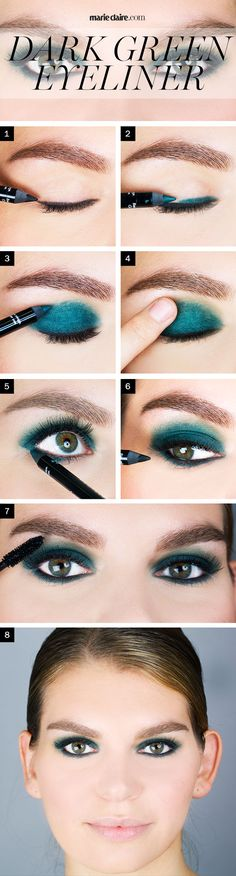 Like blue eyeliner makes blue eyes bigger, dark green eyeliner works magic for hazel and green eyes.