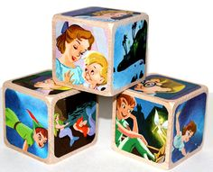 Peter Pan Children's Wooden Blocks  Baby Blocks  by Booksonblocks, $17.00