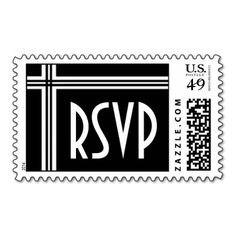RSVP Postage Stamp - Black and White #wedding #stamps #love #marriage #romance #bride #groom #jaclinart #love #postage #rsvp #black #white