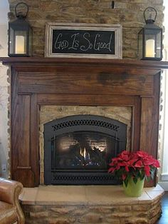 Perfect Fireplace Mantle decor/ love the framed chalkboard idea for decorating Fireplace Redo, Fireplace Remodel, Fireplace Design, Fireplace Ideas, Mantle Ideas, Brick Fireplace Mantles, Fireplace Makeovers, Painted Brick Fireplaces, Fireplace Shelves
