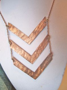 Triple Chevron Long statement necklace by BrookeAlene on Etsy, $49.95