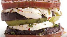 Eggplant, Heirloom Tomato, and Buffalo Mozzarella Stacks - Recipe - FineCooking Buffalo Mozzarella, Fresh Mozzarella, Pesto Vinaigrette, Fresh Recipe, Bbq Appetizers, Thyme Recipes, Eggplant Parmesan, Arugula Salad, Heirloom Tomatoes