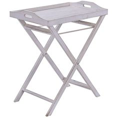 Tray End Serving Table Folding Stand Sofa Table Portable Dinner Accent White