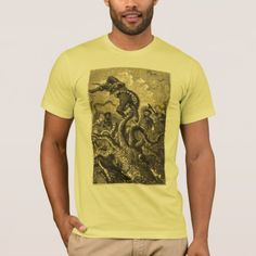 Vintage Giant Squid Sea Monster T-Shirt - click/tap to personalize and buy Giant Squid, Sea Monsters, Vintage Shops, Fitness Models, Unisex, Casual, Sleeves, Cotton, Mens Tops