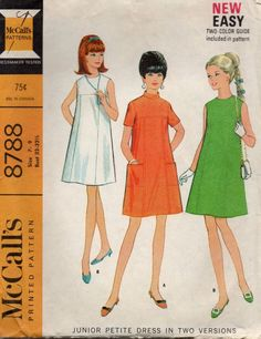 McCalls 8788 1960s Mod  TENT DRESS womens vintage sewing pattern by mbchills, $8.00