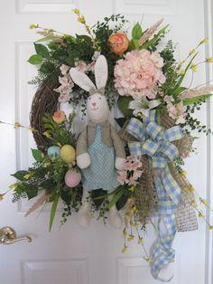 Easter Wreath Blue Pastel Door Wreath Front Door by FunFlorals