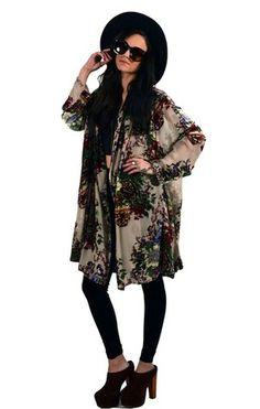 #@Madison Harmer gypsy.com; Floral Beaded Kimono Jacket $180.00