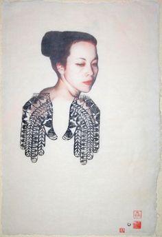 "Saatchi Online Artist: Carolina Larrea; Woodcut, 2010, Printmaking ""autorretrato Oriental"""