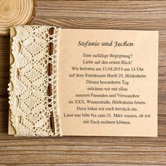 elegant Spitze ivory Hochzeitseinladungskarten KPL005