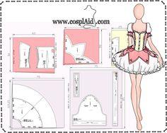 Instrucciones de corte patrones cosplay de Madoka Kaname-- Cutting instructions Madoka Kaname cosplay patterns
