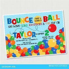 Ball Invitation, Bouncy Ball Party, Bouncy Ball Birthday Invitation, Bouncy Ball Invite, Bouncy Ball Birthday, Ball Birthday   Pink Pickle Parties