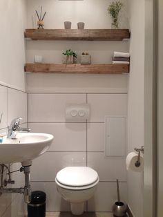 Modern trifft rustikal, Holz Balken Regal, Gäste Wc