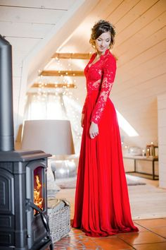 Stunning two piece red wedding dress