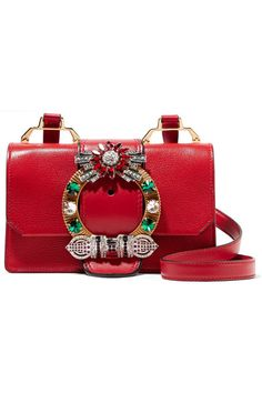 Red smooth and textured-leather (Goat, Calf) Snap-fastening front flap Weighs approximately 1.8lbs/ 0.8kg Made in Italy