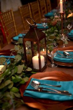 Turquoise Wedding Napkins Picture Of A With Eucalyptus Candle Lanterns Copper Chargers And Is Pure Personalized – Teal And Grey Wedding, Teal And Gold, Teal Wedding Flowers, Peacock Wedding Colors, Teal Flowers, Dark Teal, Teal Color Schemes, Wedding Color Schemes, Wedding Themes