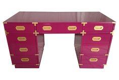 Campaign-Style  Desk by Bernhardt on OneKingsLane.com Mulberry lacquered seven-drawer campaign-style desk by Bernhardt. Finished on all four sides.  $1,549.00  $2,900.00 Estimated Market Value