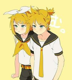 kagamine twins Aww my fav twins! Rin E Len, Vocaloid Len, Kagamine Rin And Len, Miku Chan, Light And Misa, Kyo And Tohru, Glitch Gif, Mikuo, Yellow Art