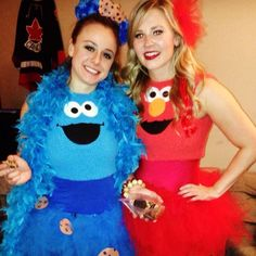 Couples DIY Halloween Costume - Cookie Monster and Elmo