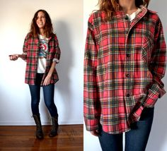 Vintage Grunge Red Flannel Button Down Shirt by TheVelvetMoon, $25.00